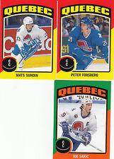 14/15 OPC Quebec Nordiques Sticker Team Set Sakic Forsberg Sundin