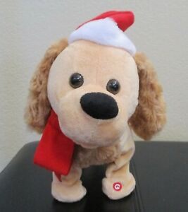 """Gemmy Singing Animated Christmas Dog Wearing Santa Hat 15"""" Long"""