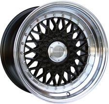 "Alloy Wheels 16"" Lenso BSX Black Polished Lip For VW Golf [Mk2] 83-93"