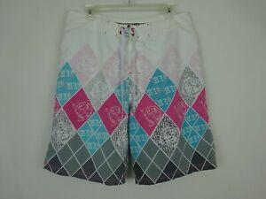 Hawaiian Island Creations Argyle Board Shorts Pink White Blue Gray ~ Sample ~