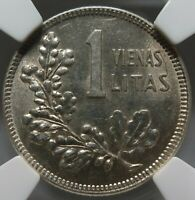 LITHUANIA silver 1 litas 1925 NGC MS 63 UNC Knight