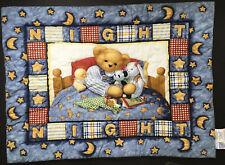 Vintage Blue Jean Teddy Baby Crib Comforter Night Night Bedtime Moon Stars