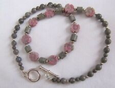 18'' Rhodonite and Gray Stone necklace