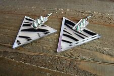 Spike Studded Earrings Zebra Animal Print Triangle Dangle Hook Fashion Jewelry