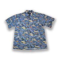 Pierre Cardin Hawaiian Shirt Blue Island Palm Tree Print Size L