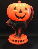 Vintage Halloween Light Pumpkin Cat Trick Treat Blow Mold Jack O Lantern Plastic