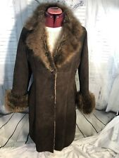 OVERLAND LADIES BROWN SHEARLING COAT SZ 6 MADE IN USA......SuPer SOFT LUXE Rare!