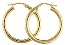 9CT YELLOW GOLD 25MM ROUND POLISHED  PLAIN TUBE HOOP CREOLE EARRINGS GIFT BOX