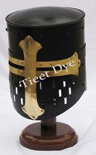 Armour Helmet Knight  black finish Christmas Gift Free Helmet Stand