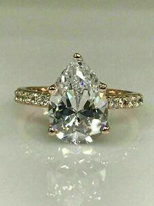 2.20Ct Pear Cut VVS1/D Diamond Solitaire Engagement Ring 14K Rose Gold Finish