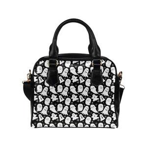 Black & White Ghost Print Ladies Small Handbag, Crossbody Bag, Punk, Alternative
