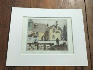 """1950s or 60s original etching """" the sloop inn st ives """" 13/50 by o.h.bedford"""