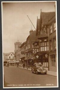 Postcard Salisbury Wiltshire motor car RV6385 by The Old George hotel RP Judges