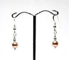 Swarovski® 6mm simulated crystal Rose Gold pearl stg silver bead drop earrings