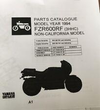 YAMAHA FZR 600 RF 3HHC PARTS LIST MANUAL CATALOGUE 1994 paper copy.