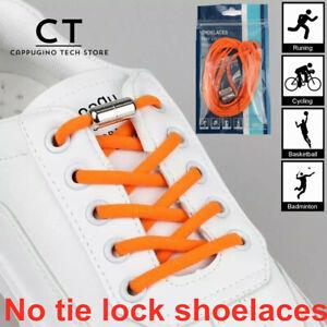 1 Pair No Tie Locked Lock Elastic Shoelaces Shoe Laces Lazy Sneakers Kids Adults
