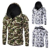 Jacket Military Hooded Zipper Outwear Coat Winter Warm Parka Men's Camo Padded