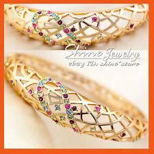 9K GOLD GF BA42 DIAMOND Ruby Sapphire AMETHYST WEAVE FILAGREE SOLID BANGLE