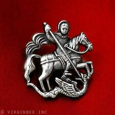 ST.GEORGE SAINT MOUNTED SLAYING DRAGON CHRISTIAN ART SILVER LAPEL PIN GIFT BOXED
