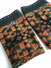 Vintage Cowboy Boot Leg Warmers Toppers Tribal Fabric Leather Trim Pull On Women