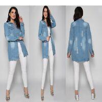 New Ladies Women's Distressed Long-line Denim Jacket Coat Top UK 8-14
