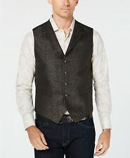 $250 Tallia Orange 38R Men's Black Gold Metallic Slim Fit Suit Waistcoat Vest