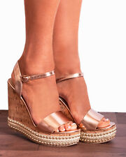 ROSE GOLD CORKED STUDS WEDGED PLATFORMS WEDGES STRAPPY SANDALS HIGH HEELS SHOES
