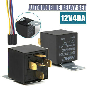 2pc 12V Car 40 AMP Relay SPDT 5-wire 5 pin Automotive Harness Socket