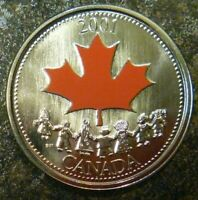2001P COLOURED 25 CENTS SPIRIT OF CANADA - LOW MINTAGE!