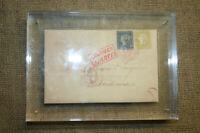 Bordeaux Brief Blaue u. Rote Mauritius Faksimile in Plexiglas-Ständer