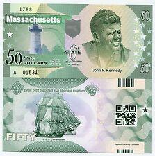 United States Massachusetts 50 Dollars 2014 Polymer Kennedy Fantasy Banknote