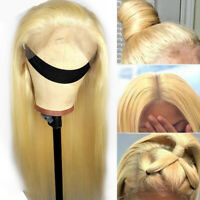 Glueless Silk Top Full Lace Front Wigs Straight Malaysian Human Hair Wig Blonde