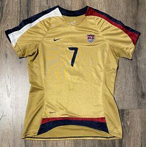 2007 World Cup Nike USA Shannon Boxx #7 Medium Gold Jersey Soccer USWNT Vintage