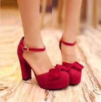 Ladies Platform High Block Heels Ankle Strap Court Pumps Wedding Shoes Plus Size
