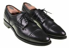 Allen Edmonds Sanford Black Leather Brogue Punch Cap Toe Dress Shoes 12 A