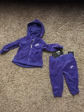 Nwt Nike Infant Purple Velour Jogging Oufit,Hooded Jacket & Pants 12 Months