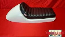 LARGE BMW CAFE RACER STYLE SEAT WHITE WITH DELUXE BOLT ON/OFF BLACK PAD