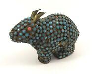 Vintage Enamel Animal Figurine Capybara Brass with Blue Beads Rabbit