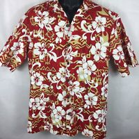 Hilo Hattie L Large Shirt Red Hawaiian Short Sleeve Floral Button Front (S2)