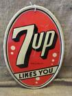 "Vintage Stout 7up Dome Shaped Sign 13"" x 9"" > Antique 7 UP Cola Soda Pop 8006"