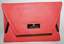 "LADIES SALMON PINK LEATHER LOOK CLUTCH BAG FROM ""RIVER ISLAND"""