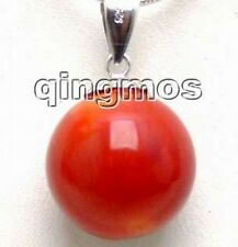 "& Free 16"" silver S925 Chain-5502 Big 15-17mm Genuine Red Natural Coral pendant"
