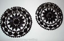 Pair of antique Victorian finely cut French jet dress ornaments / lge buttons
