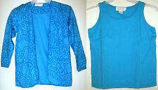 Petite Sophisticate Vtg Aqua Retro Cardigan Jacket Knit Tank Top Shirt Set Ps