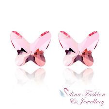 18K White Gold GP Made With Swarovski Crystal Light Pink Butterfly Stud Earrings