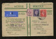 GB KG6 1940 ACTIVE SERVICE ENV.3 COLOUR FRANKING FPO121 BOXED CENSOR JERUSALEM