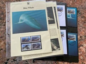 British Antarctic Territory Blue Whale issue 4 MINT MNH + 8 covers wwf 2003 [W21