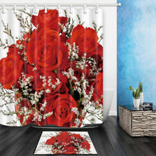 Red Rose Bouquet Flowers Waterproof Fabric Bathroom Shower Curtain & 12 Hooks