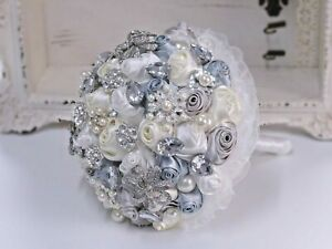 Wedding Bouquet Brides Posy Brooch Flowers Silver Grey Cream Ivory Crystal Pearl