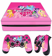 PS4 Slim Aderente MY LITTLE PONY ROSA ARCOBALENO + JOYSTICK decalcomanie Vinile
